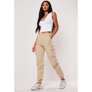 Missguided Plain Tan Hi Waist Cargo Pants - 4